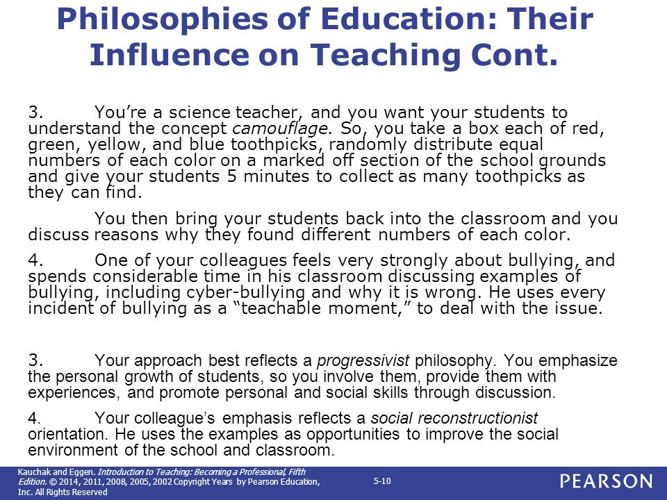 a personal approach to the philosophy of education Five educational philosophies there books concerning fact-based approaches to education this educational philosophy are robert maynard hutchins.