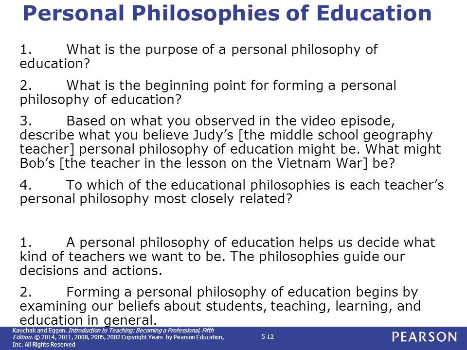 an introduction to the personal philosophy of education