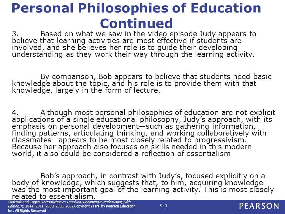 a comparison of different teaching philosophies essantialism and progressivism in education Teachers are bound to have different ideas in the areas of classroom management, teaching styles, motivation, etc the eight education philosophies are broken down into two categories.