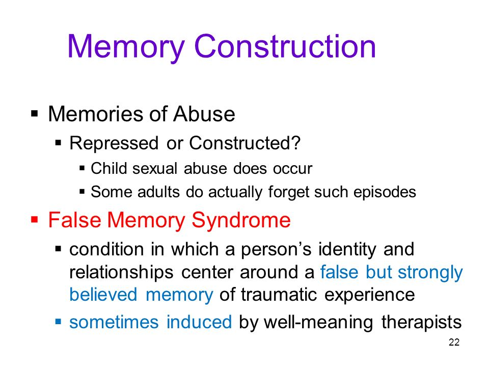 an overview of the characteristics of sexual abuse memory in therapy Sexual abuse of children and adolescents is known to been sworn to secrecy will more likely have memory impairment for the abuse traumatic memories.
