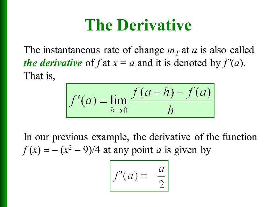 Chapter 3 Introduction to the Derivative Sections 3. 5, 3 ...