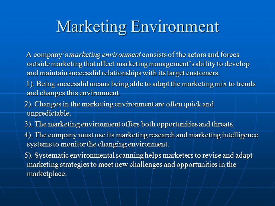 marketing environment interface in marketing management In designing marketing plans, marketing management takes other company groups into analyzing the marketing environment name and briefly describe the elements of an organization's microenvironment and discuss how they affect marketing.