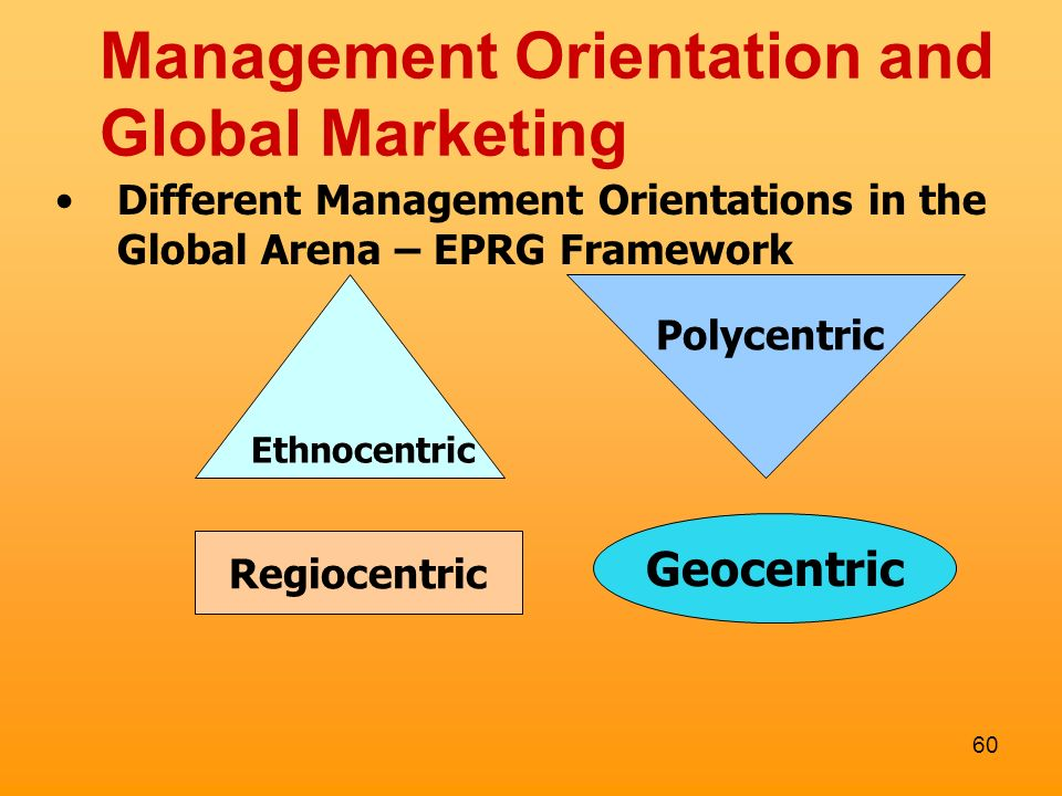 geocentric orientations Environmental orientations ethnocentric geocentric polycentric example in class: american and chinese students ethnocentric.
