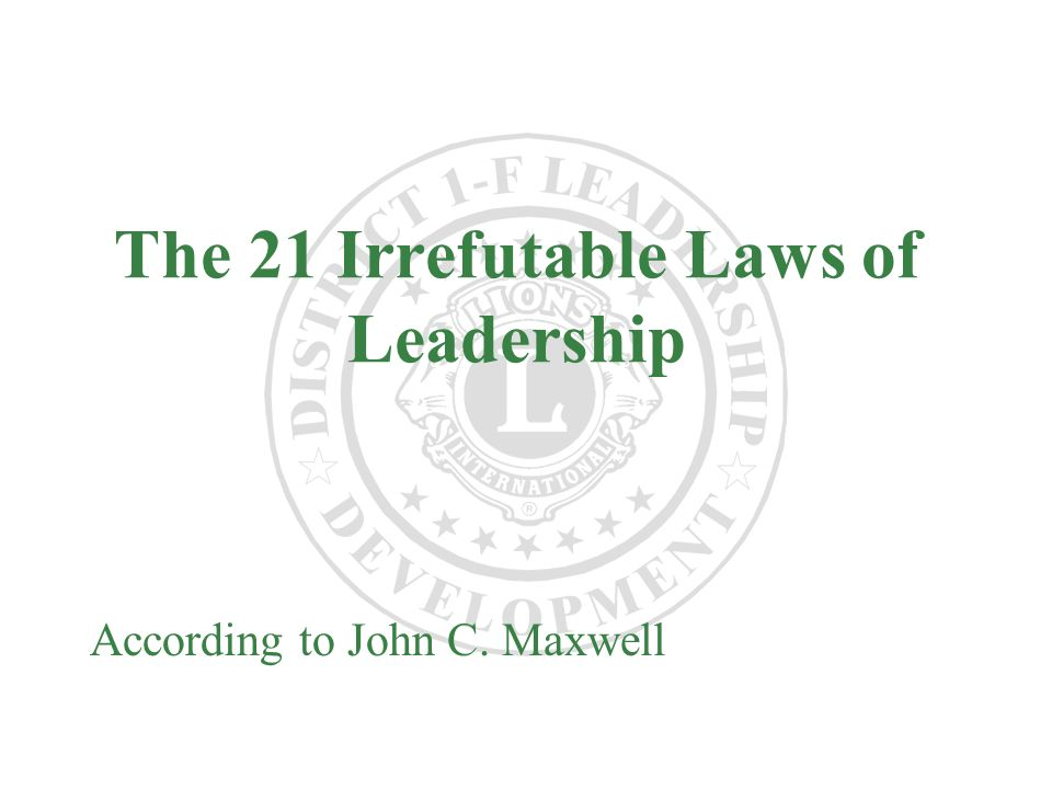 an analysis of leadership concepts in the 21 irrefutable laws of leadership by john maxwell View zachariah maynard's  john maxwell - the 21 irrefutable laws of  information systems design and database concepts (acis5504) leadership in tech.