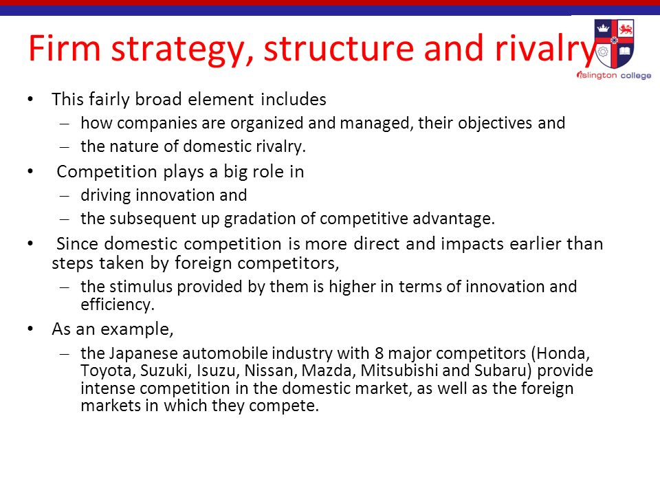 the firm strategy structure and rivalry Taking industry structuring seriously: a strategic perspective on product  a strategic perspective on product differentiation  1  in matters of firm strategy.