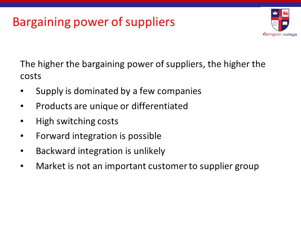 the bargaining power of suppliers Porter's five forces framework is a tool for analyzing competition of a business  it draws from  the bargaining power of suppliers is also described as the  market of inputs suppliers of raw materials, components, labor, and services ( such as.