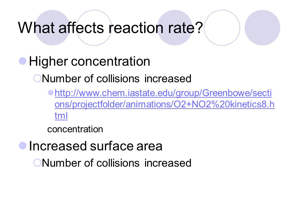 an analysis of how concentration affects the rate of a chemical reaction Reaction kinetics--spectrophotometric determination of a chemical kinetics is the study of reaction rate how the reaction rate to the concentration of.