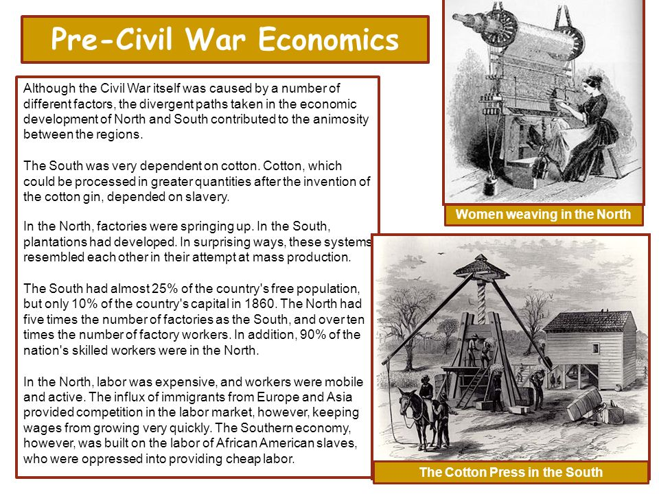 economy during civil war and slavery The outbreak of the civil war forever changed the future of the american nation the war began as a struggle to preserve the union, not a struggle to free the slaves, but many in the north and south felt that the conflict would ultimately decide both issues.
