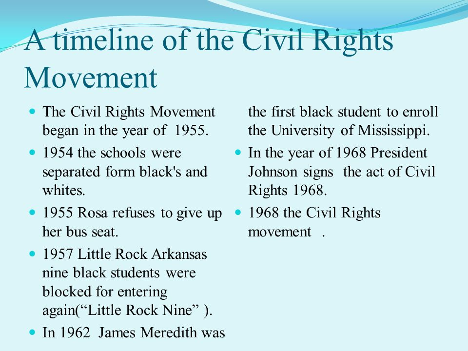 major stages of the civil rights movement from 1955 to 1970 Socio-political movements of the mid-20th century the civil rights movement black americans launched a series of major campaigns of civil resistance.
