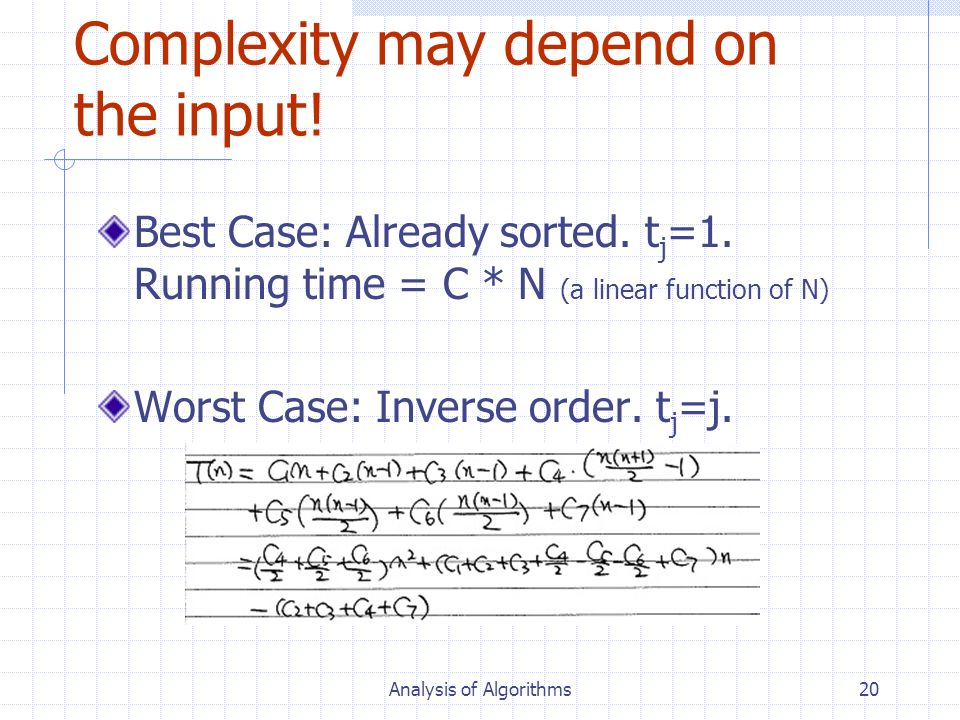 Complexity may depend on the input!
