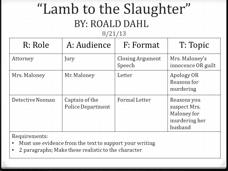 closing argument for lamb to the slaughter The short story, lamb to the slaughter by roald dahl, tells the troubling story of young, pregnant mary maloney, who finds out that her husband patrick plans to divorce her she loves her husband, but mary's bizarre whispered statement, i' ll get the supper, also foreshadows the tragic ending she's not really getting a.