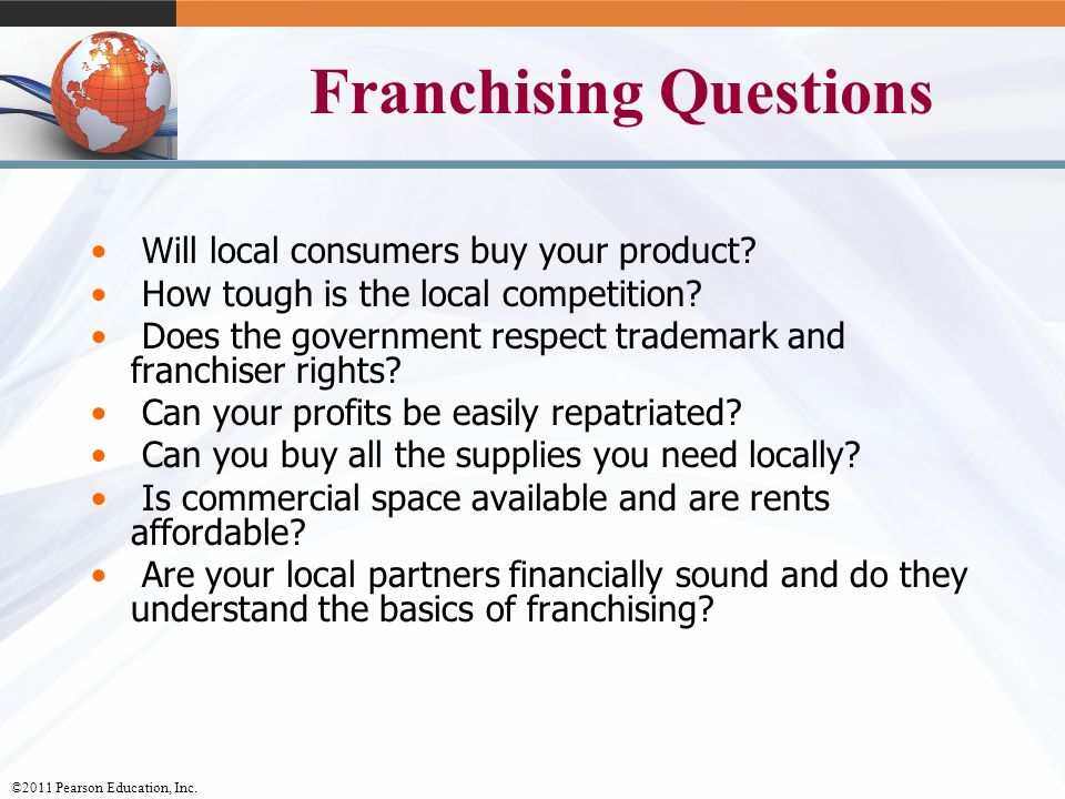 Franchising and Assignment Questions
