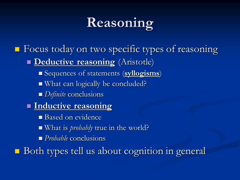 5 types of reasoning The 5 types of power in leadership perspectives aug 26, 2011 |  the study showed how different types of power affected one's leadership ability and success in.