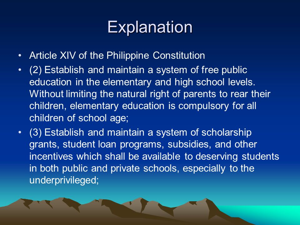 explanation of article 3 section 1 in philippine Transcript of philippine constitution article xiv  section 3 (1) all educational  section in the article xiv of philippine constitution 2.