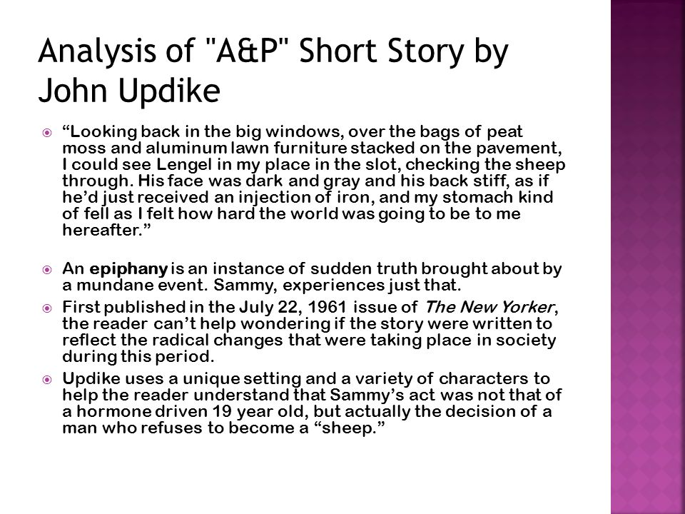 theme initiation updike s p Preparing for the final examination: details  about some aspect of a story's theme and asks you to notice what  a & p work as a story of initiation.