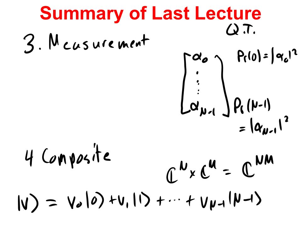 Summary of Last Lecture