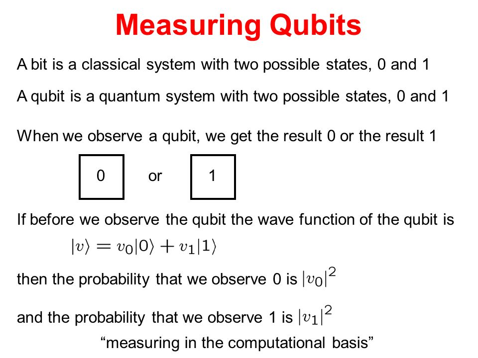 Measuring Qubits A bit is a classical system with two possible states, 0 and 1. A qubit is a quantum system with two possible states, 0 and 1.