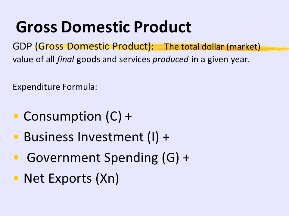 net domestic products and gross domestic Gross domestic product (gdp) is the total market value of all final goods and services produced in a given year within the united states, whether produced by citizens, companies, or by foreigners in the united states hence, cars manufactured by gm, ford, toyota, and honda in the united states are considered part of the gross domestic product.