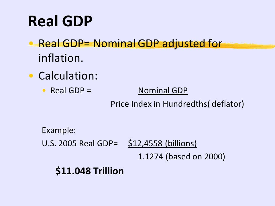 calculating year on year growth of gdp For each year (except the first year) calculate the chain-weight growth rate of real  gdp by taking the geometric average of the two fixed-weight growth rates.