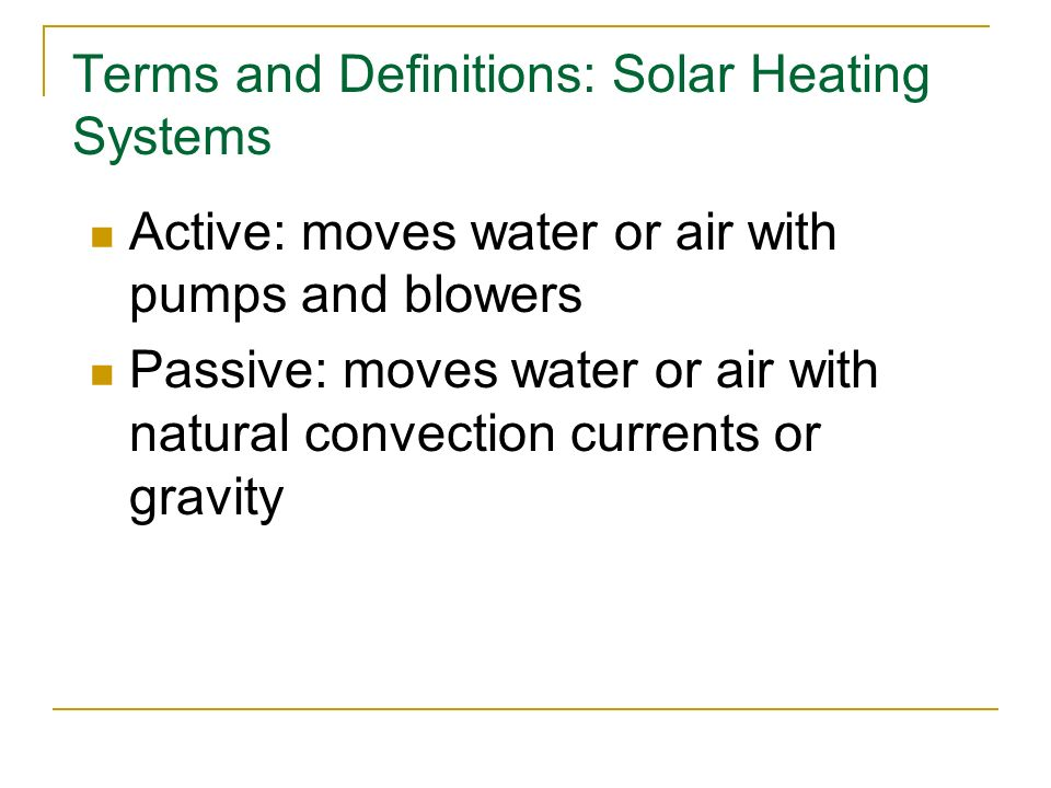 Terms and Definitions: Solar Heating Systems