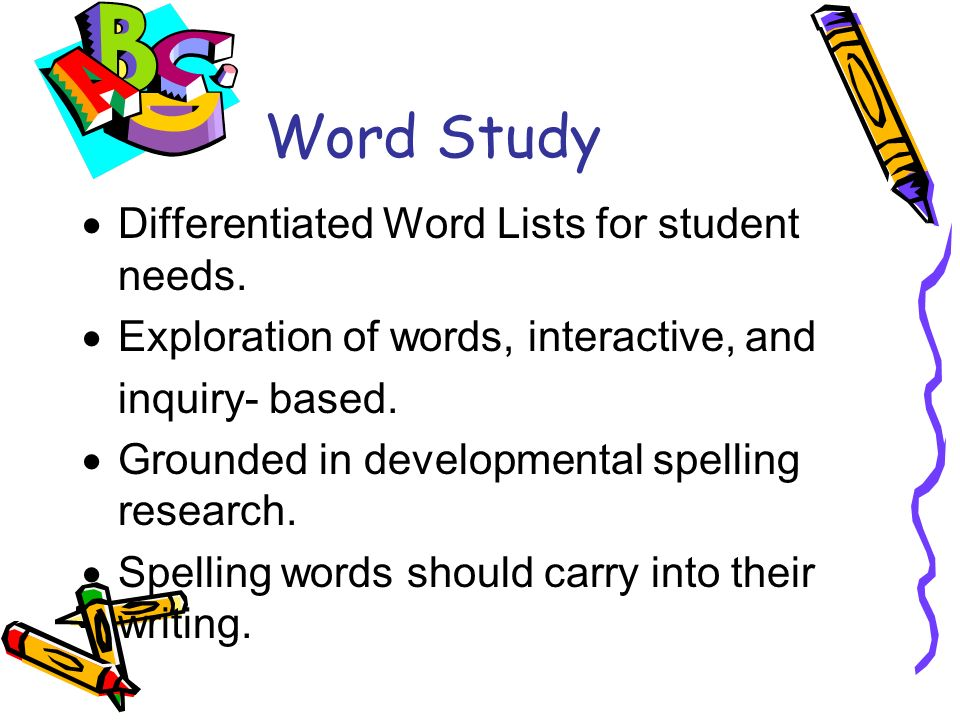 Word Study Differentiated Word Lists for student needs.