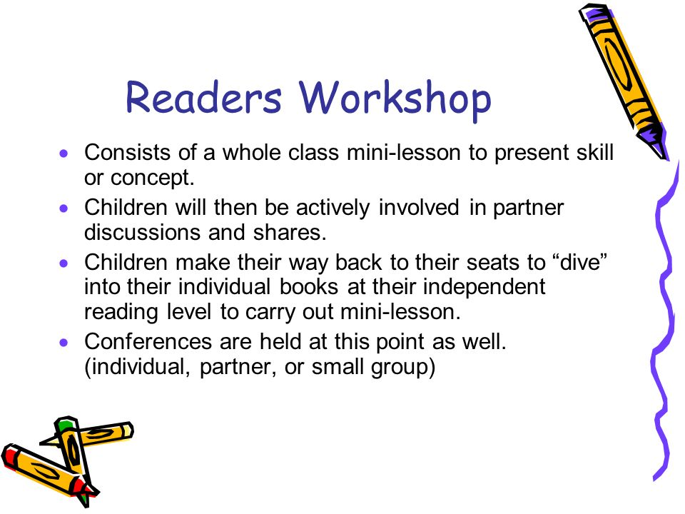 Readers Workshop Consists of a whole class mini-lesson to present skill or concept.