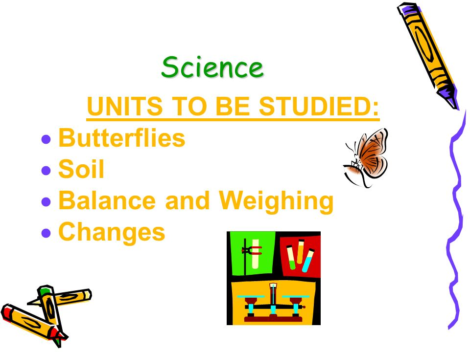 Science UNITS TO BE STUDIED: Butterflies Soil Balance and Weighing