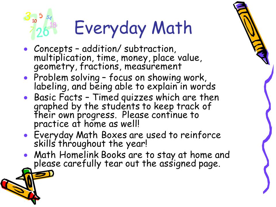 Everyday Math Concepts – addition/ subtraction, multiplication, time, money, place value, geometry, fractions, measurement.