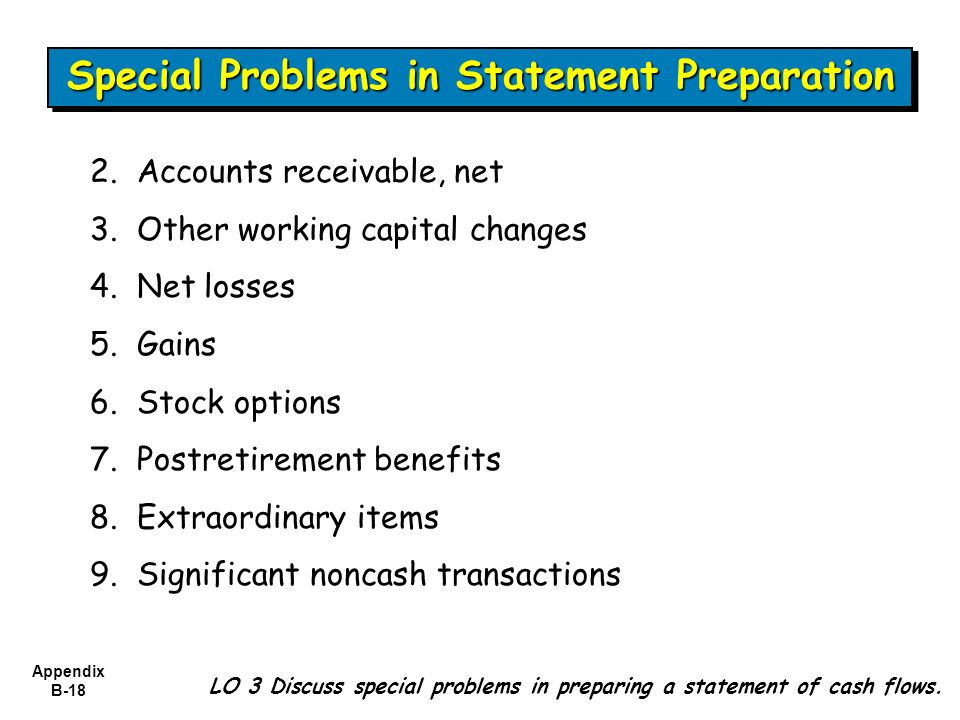 Special Problems in Statement Preparation