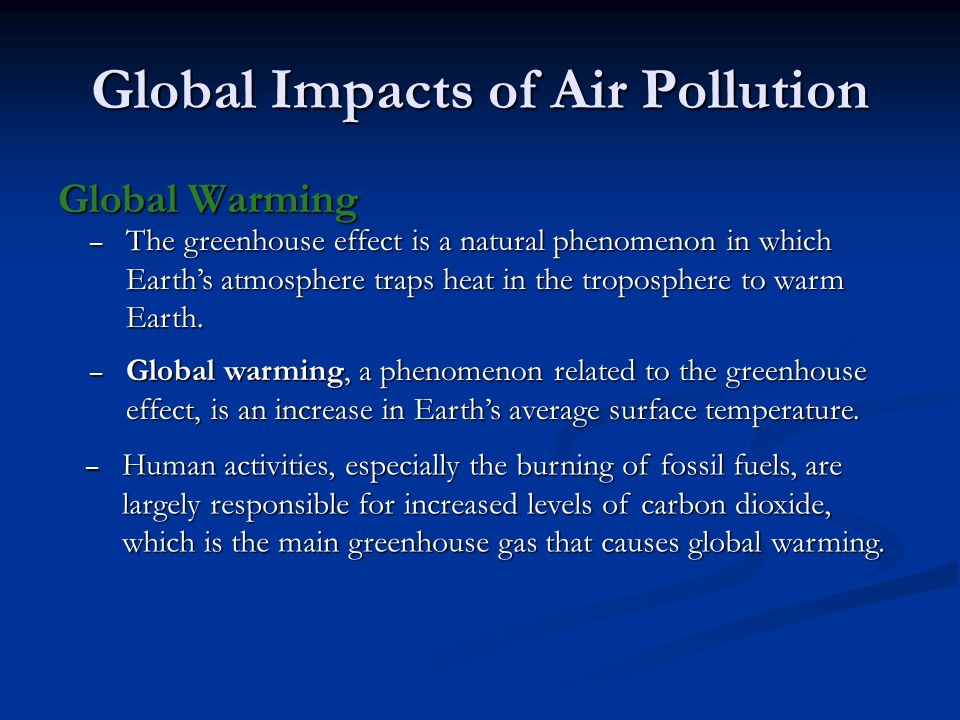 Global Impacts of Air Pollution