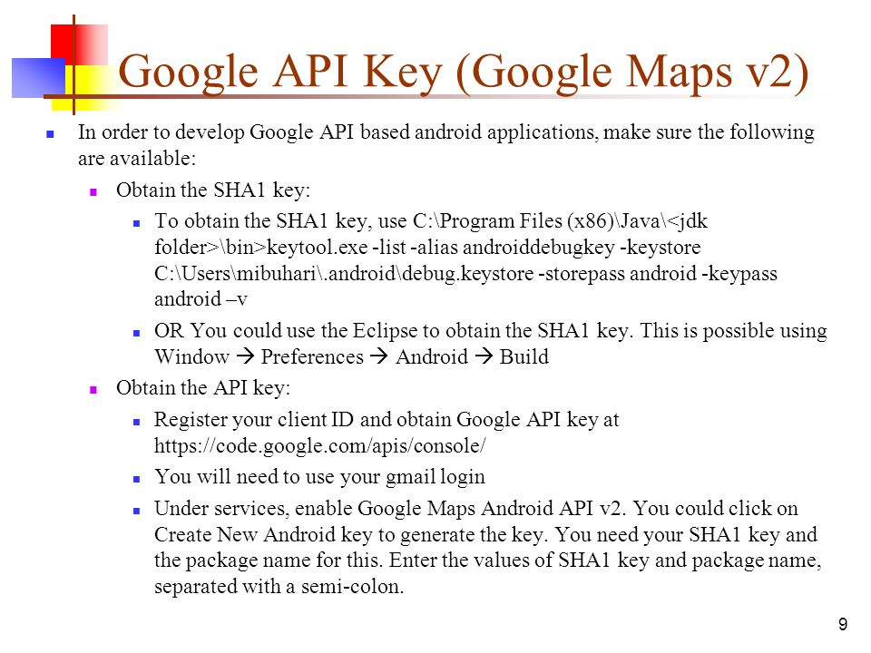 Google Maps Api Key Code