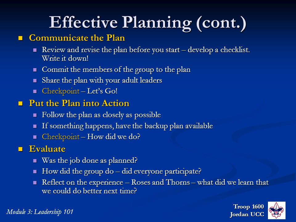 Effective Planning (cont.)