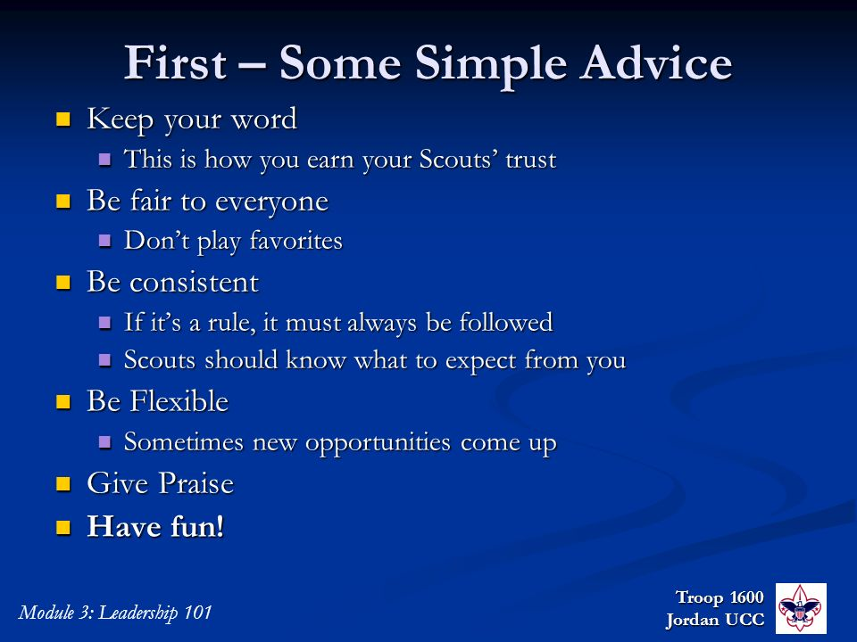 First – Some Simple Advice