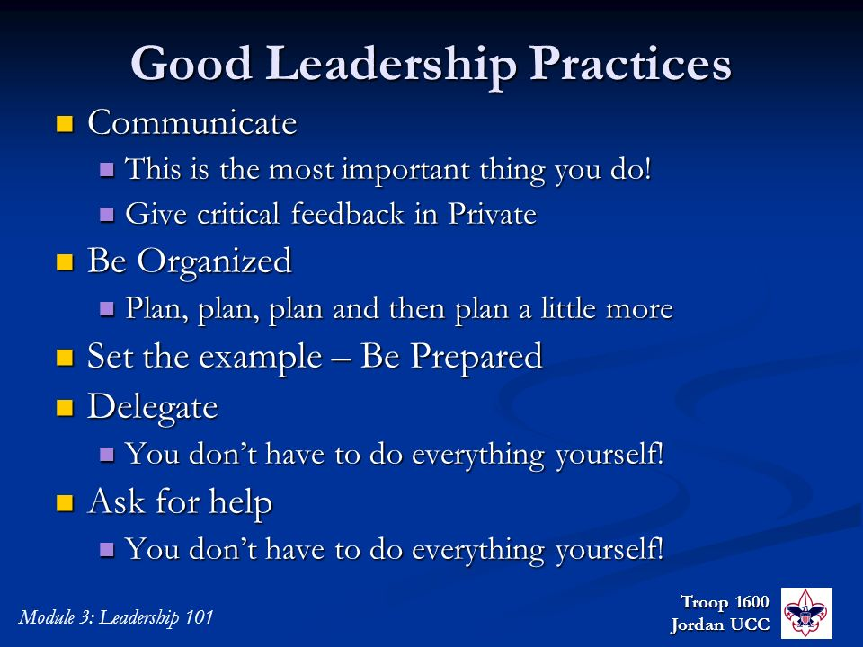 Good Leadership Practices