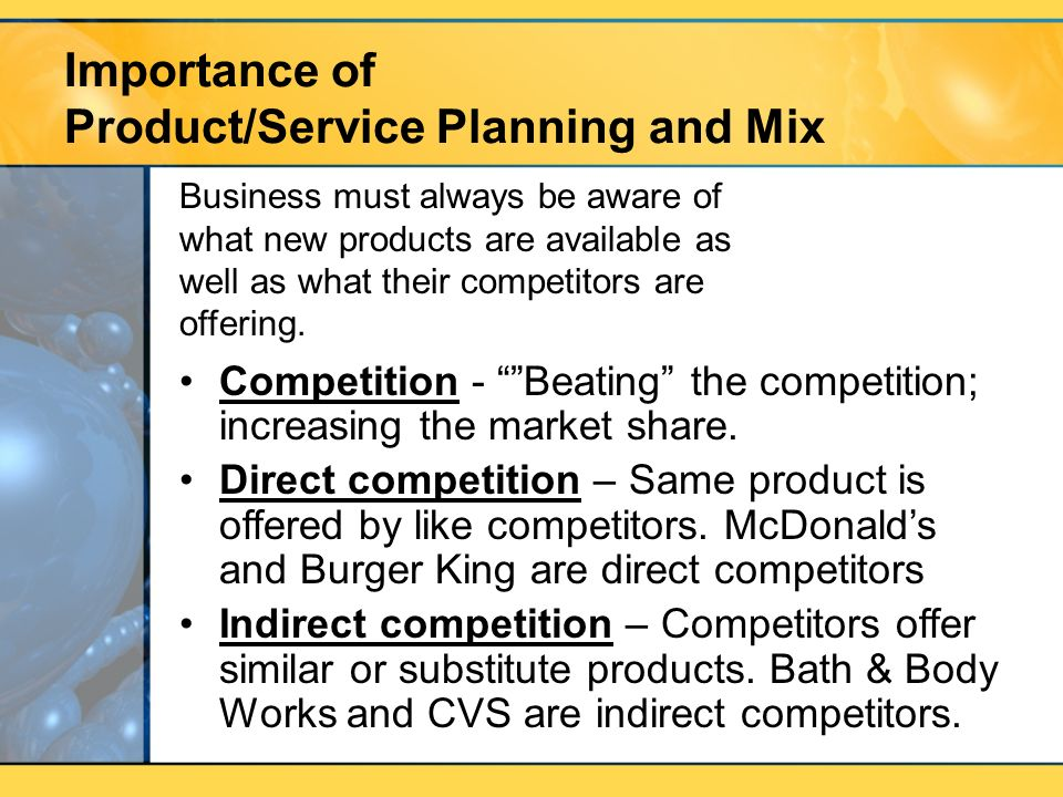 product and service planning
