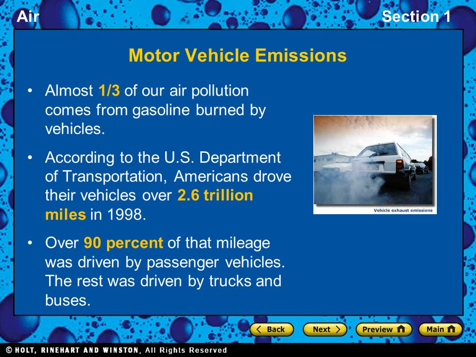 Section 1 what cause air pollution ppt video online for Motor vehicle reports online
