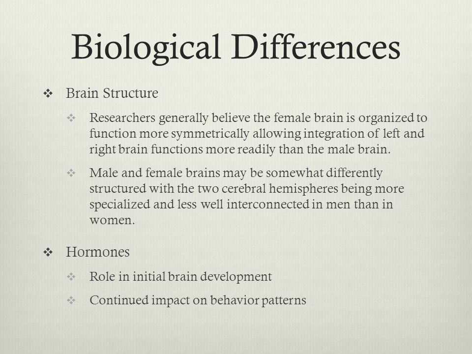 biological differences between males and females Study 138 chapter 1-5 flashcards from kala m on the social meaning that are assigned to biological differences between males and females is known which one of the following areas does sex differences research not use to categorize scholarship on differences between women and men.