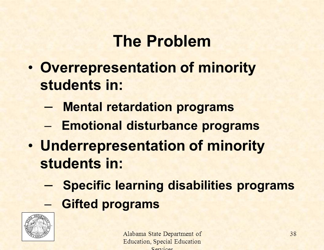 overrepresentation of minority students in special education programs The journal of special education vol 27/no 4/ a 994/pp 410-437 overrepresentation of minority students in special education: a continuing debate.
