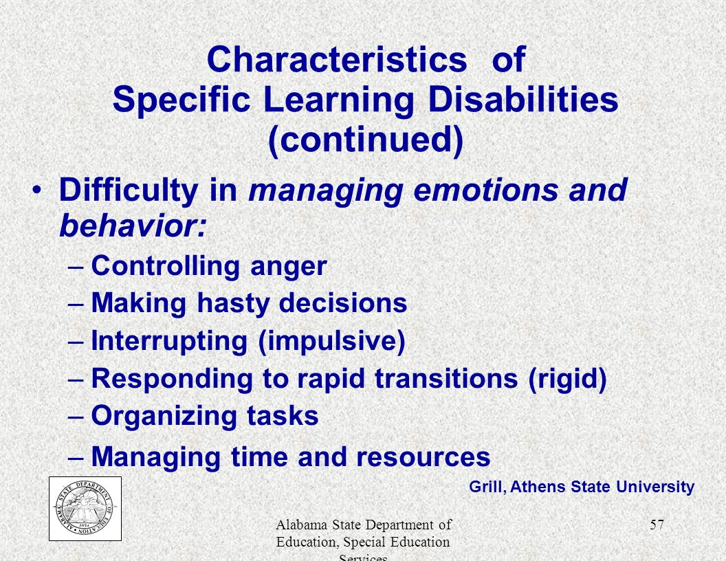 characteristics of learning disabilities pdf