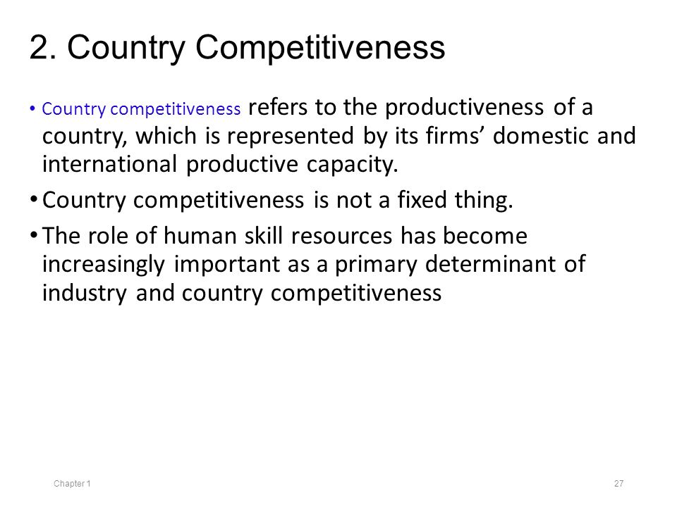 the importance of country competitiveness I believe it is critically important that we give greater priority to new and better research and development (r&d) investments, to help ensure our country's future competitiveness and to pave.