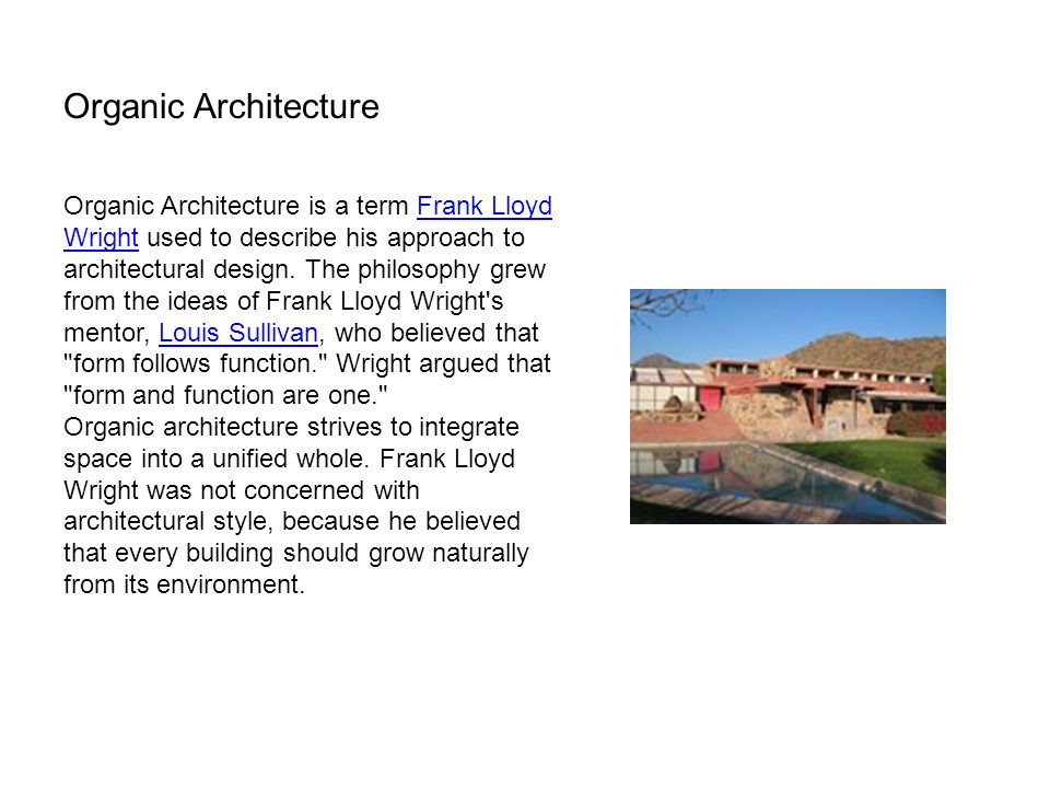 Frank Lloyd Wright Design Philosophy architecture review for ite ii final exam - ppt download