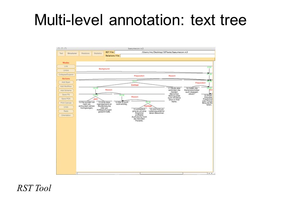 Multi-level annotation: text tree