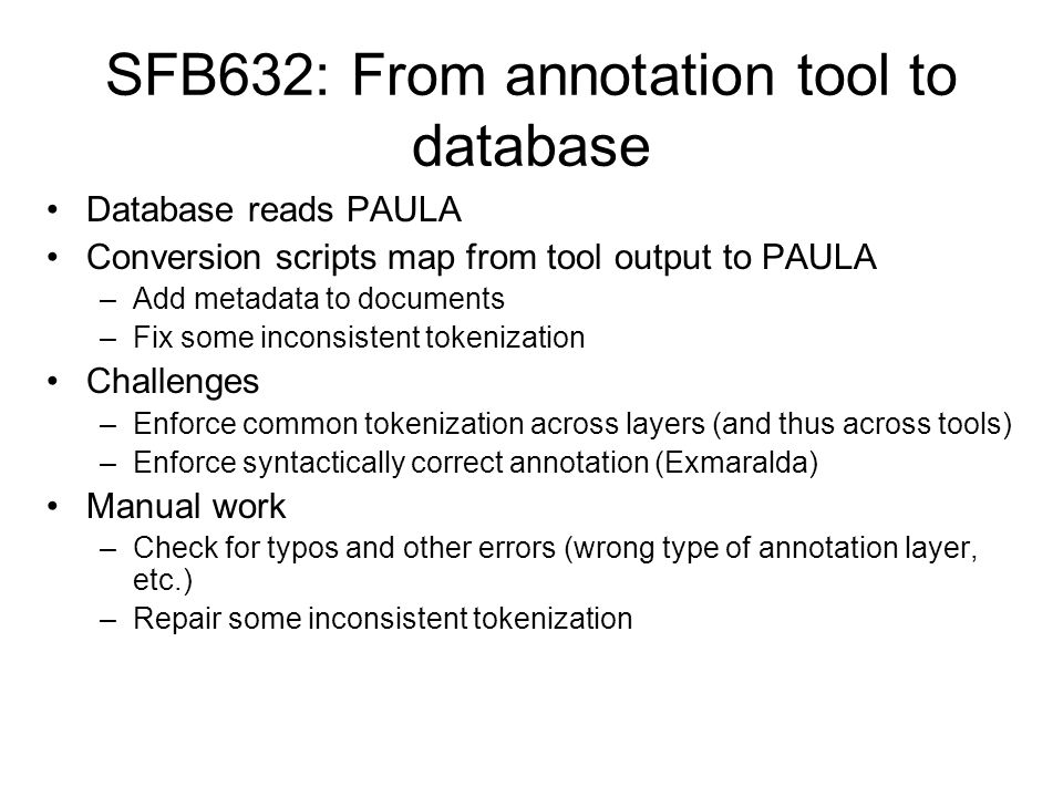 SFB632: From annotation tool to database