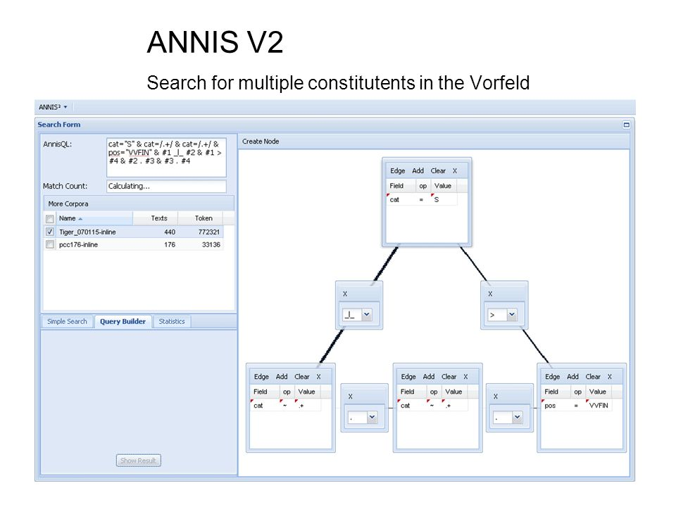 ANNIS V2 Search for multiple constitutents in the Vorfeld
