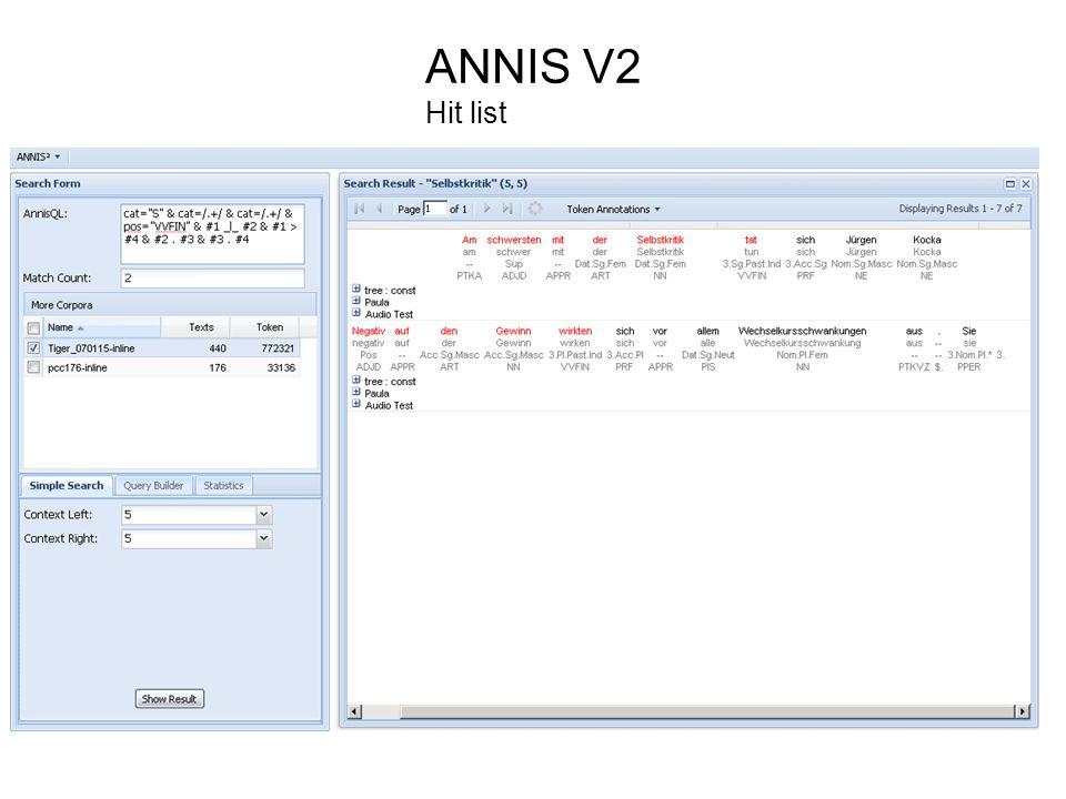 ANNIS V2 Hit list