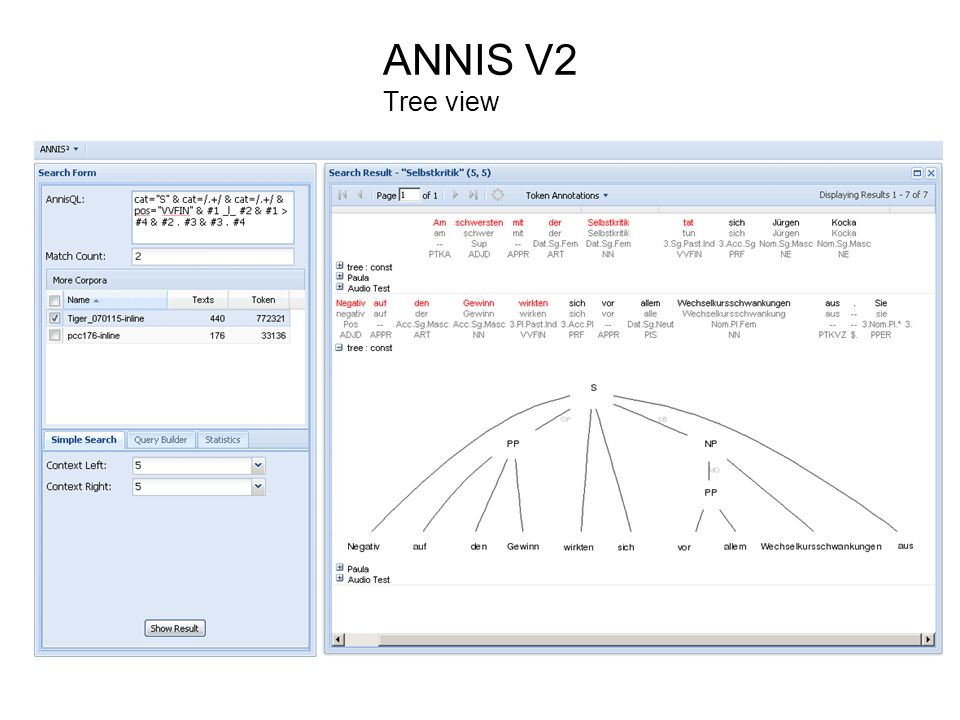 ANNIS V2 Tree view