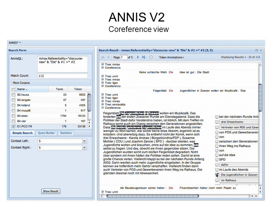 ANNIS V2 Coreference view