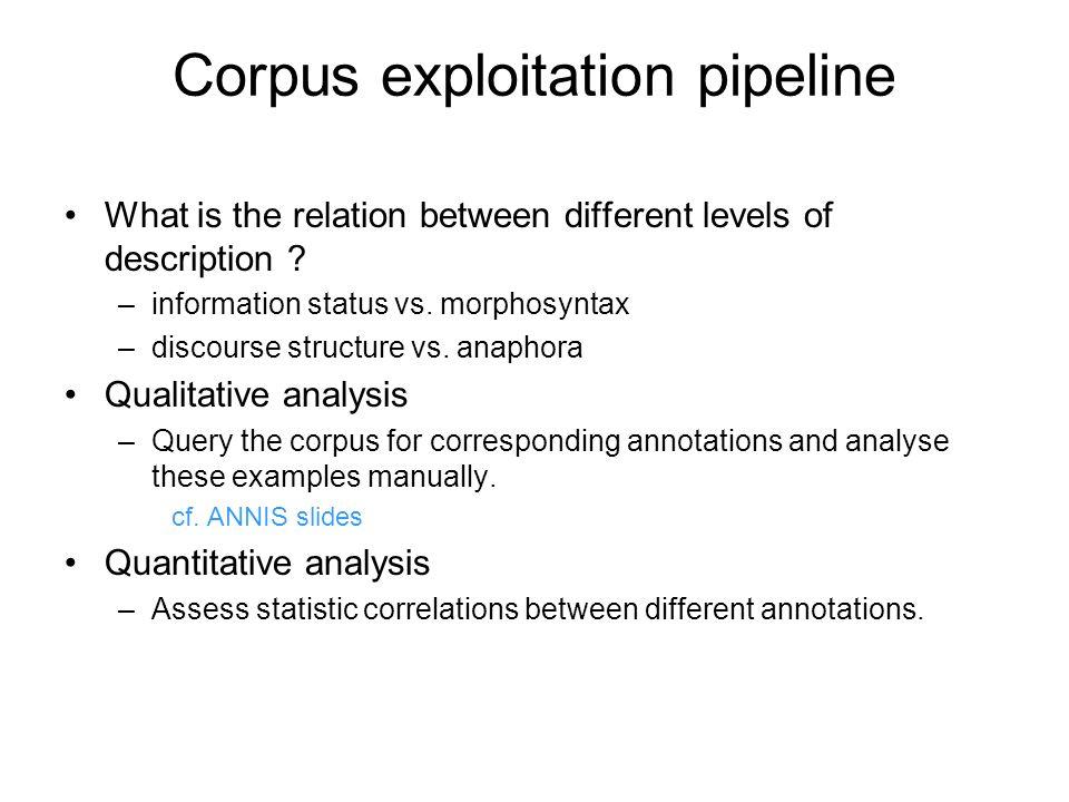 Corpus exploitation pipeline