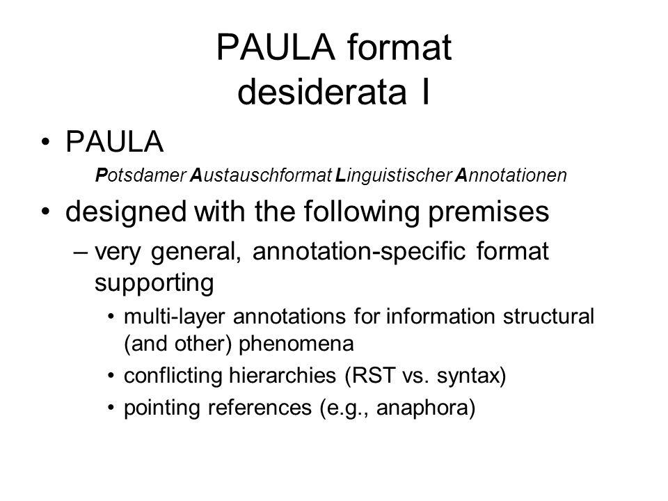 PAULA format desiderata I