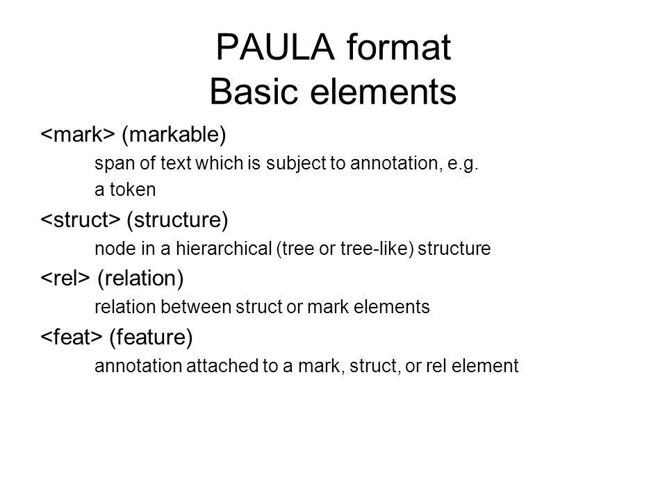 PAULA format Basic elements